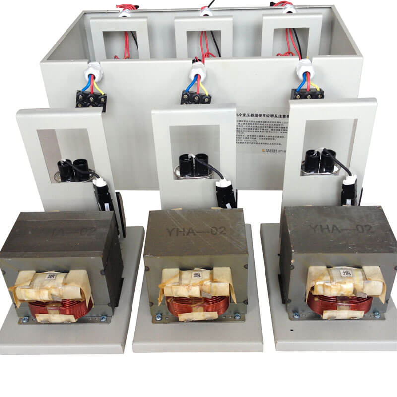 oil cooled microwave transformer group 3x1000w
